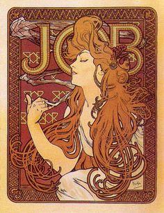 Read more: https://www.luerzersarchive.com/en/magazine/print-detail/5145.html Poster for Job brand cigarette paper. Tags: Alphonse Maria Mucha,