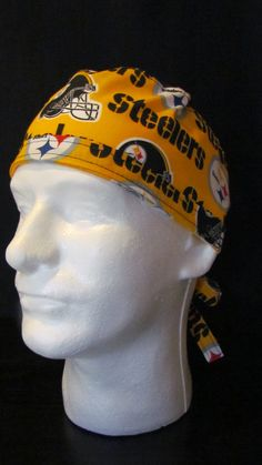 Pittsburgh Steelers Fottball Tie Back Surgical Scrub Hat Cap by TipTopLids on Etsy