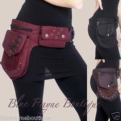 Cotton Lace & Brass Grommet 3 Pocket Hip Pod Belt Bum Bag Gypsy Steampunk Wallet