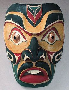 "Native American Salish Northwest Coast Portrait Mask ~     Nanaimo, British Columbia, Canada ~   painted Alder wood, with copper sheet-metal eyes ~     This large NW Coast Salish portrait mask was done by John Gibson, who signs his name ""Stomish,"" which means warrior."