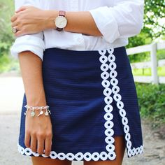 Wellesley Row charm bracelets. Lenore Lilly Pulitzer skort. Polo Oxford button down. @dailydoseof_prep on Instagram