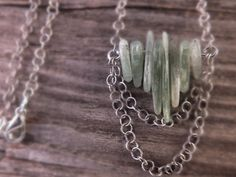 Green kyanite necklace kyanite necklace layered by BirdandBeed, $28.00