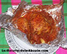 Molotes de Pollo  Receta de pollo con verduras envuelto en papel alumunio, con sopa de arroz y salsa de achiote.