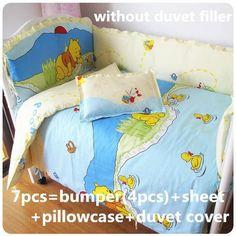 Winnie The Pooh 6-PC Blue & Yellow Baby Nursery Bedding Set - Loluxe - 1