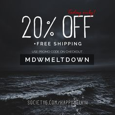 Memorial Day Weekend Promo.  Grab 20% off and Free Shipping Worldwide on all HappyMelvin mechandise at @society6 !  Today only, so no time to wait around.  Use promo code: MDWMELTDOWN upon checkout and you´re good to go!  All HappyMelvin original artworks and photography can be found here: https://society6.com/happymelvin