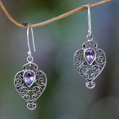 Earrings Handcrafted in Sterling Silver and Amethyst - Hibiscus Dew | NOVICA