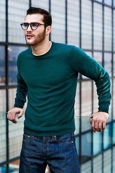 Green Sweatshirt On Denim With Classic Frames