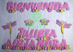 Banner de Hermosas libélulas...=) Baby Shower, Prints, Molde, Decorated Letters, Stall Signs, Manualidades, Babyshower, Printmaking, Baby Showers