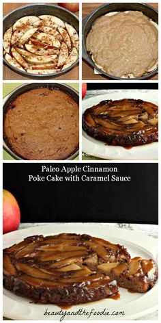 Paleo Apple Cinnamon Poke Cake with Caramel Sauce -  Low Carb Version with caramel sauce (using low carb maple syrup and erythritol option) 6.9 net carbs/serving