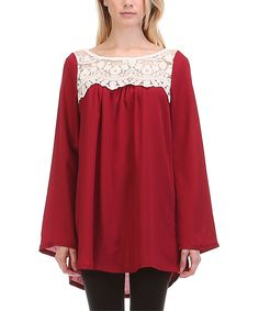 Look at this #zulilyfind! Red Lace-Yoke Tunic by sun n moon #zulilyfinds