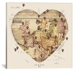 Icanvas 'Love To Travel' Giclee Print Canvas Art ($124) ❤ liked on Polyvore featuring home, home decor, wall art, beige, giclee wall art, map wall art, heart wall art, canvas wall art and canvas home decor