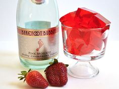 "Strawberry champagne jello shots are a fun way to have a drink and dessert all in one ""shot""!"