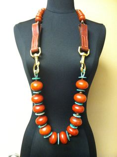 Queen Amber Gemstone Necklace African Inspired by RobbiAlex, $425.00