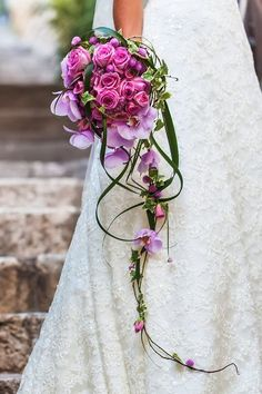 # Bridal bouquet The waterfall Bridal bouquet and many more . - # Bridal bouquet You can find the waterfall bridal bouquet and many other examples - Cascading Wedding Bouquets, Cascade Bouquet, Pink Bouquet, Bride Bouquets, Bridal Flowers, Flower Bouquet Wedding, Purple Wedding, Floral Wedding, Dream Wedding