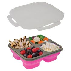 smartplanet portion perfect 4 compartment collapsible pink lunch lite kit
