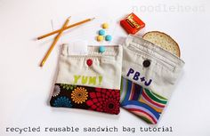 Reusable lunch bags, how fun and how perfect for all of the new canvas fabric scraps I've acquired from my pillow projects!!