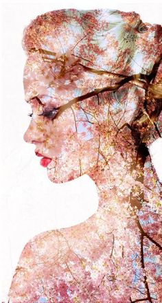portrait of a spring woman, beautiful face female enjoying cherry blossom, dreamy girl with pink fresh flowers outdoor, seasonal nature, tree branch and glamorous lady   #DoubleExposure, @TaniaAmrein https://www.facebook.com/AmreinTania/