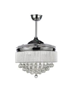 Modern Chrome Crystal LED Ceiling Fan with Foldable Blades - PrrotUncle (affiiate)