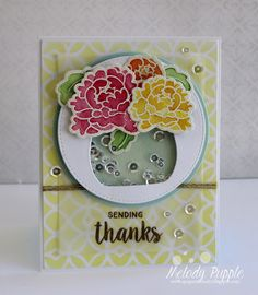 Melody Rupple: A Paper Melody – Sending Thanks - 7/13/15.  (Avery Elle stamps/dies: Peonies, Peonies Elle-ments.  Tim Holtz Stencil: Latticework).  (Pin#1: Dies/Stamps: Avery Elle. Pin+: Shaker; Thanks...).