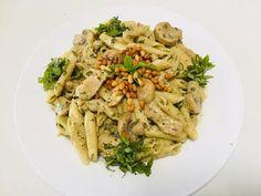 Chiken Pesto Pasta Salad, Pesto, Chicken, Ethnic Recipes, Sweet, Food, Crab Pasta Salad, Candy, Essen