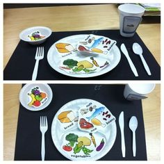 """Healthy Plate"" Nutrition Unit. PreK. Labeling a healthy meal by using food from the food pyramid.: #NutritionTheme"