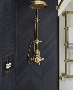 Urban Townhouse Case Study / Drummonds Bathrooms Shower with dark grey tiling and brass shower head and taps Decor Interior Design, Interior Decorating, Decorating Ideas, Decorating Websites, Basement Decorating, Gold Interior, Interior Ideas, Stylish Interior, Vintage Interior Design