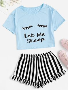 Shop Letter Print Tee & Striped Ruffle Shorts PJ Set at ROMWE, discover more fashion styles online. Cute Pajama Sets, Cute Pjs, Cute Pajamas, Pj Sets, Cute Sleepwear, Sleepwear Sets, Ruffle Shorts, Striped Shorts, Pajama Outfits