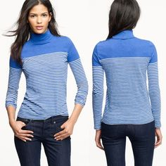 J. CREW Blue Painter Turtleneck Tee In Stripe Gently used. Buttons of gold color includes extra button sewn into the shirt. Length from shoulder to bottom: 26 in. Length across chest: 18 in. Length of sleeve: 25.5 in. Length of turtleneck: 5.5 in.   Closet policies: ✔️ Accepting most offers  Bundles = 20% off two or more items  No Trades  No PayPal J. Crew Tops