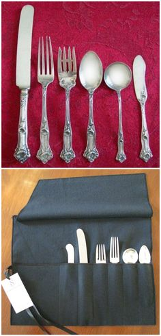 Anti Tarnish Flatware Roll   Sterling Silver Flatware Storage, Monogrammed Storage  Bags, Silverware Roll, Simple Elegance Collection | Simple, Flatware And ...