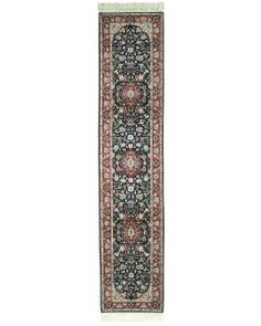 Handmade Rectangular Persian Kashan Runner Area Rug in Blue with Burgundy Accents, Rug Runners, Persian, Burgundy, Area Rugs, Handmade, Blue, Home Decor, Rugs, Hand Made