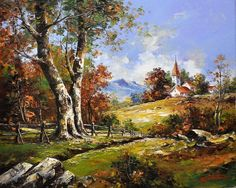 Emil Ciubotaru ~ The Country Church ~ Beautiful! Landscape Artwork, Landscape Drawings, Cool Landscapes, Abstract Landscape, Beautiful Paintings Of Nature, Nature Paintings, Beautiful Landscapes, World Painter, Pintura Exterior