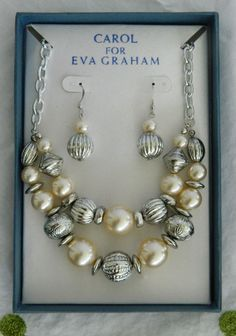 NEW Carol for Eva Graham Silver Tone & Faux Pearl Necklace & Pierced Earring Set
