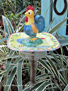 Rooster Garden Whimsy Stake / Garden by GardenWhimsiesByMary