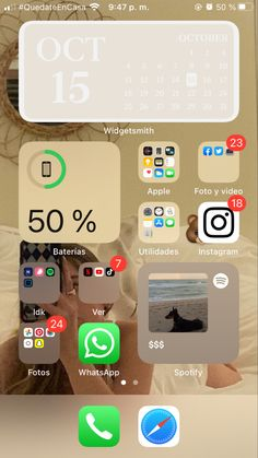 Iphone Home Screen Layout, Iphone App Layout, Iphone Backrounds, Lock Apps, Ios, Cream Aesthetic, Phone Organization, Iphone Background Wallpaper, Instagram And Snapchat