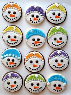 Iced Snowmen Sugar Cookies- easy directions and recipe for creating chocolate sugar cookies with snowmen smiles! | The Monday Box
