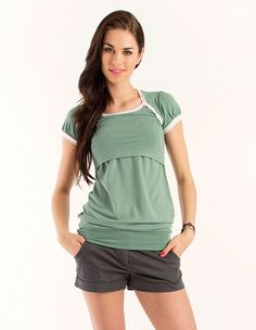 Lorie maternity & nursing top with short sleeves mint-dots on Etsy, $49.41