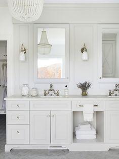 Beautiful all white master bath with polished nickel hard wear The Orono House | Bria Hammel Interiors