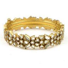 Eternal Kundan Kada Indian Jewelry Sets, India Jewelry, Pearl Jewelry, Wedding Jewelry, Jewelery, Kundan Bangles, Gold Bangles, Jewelry Accessories, Jewelry Design