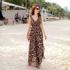 $26 for a Women's V-neck Leopard Ankle Length Chiffon Dress   DrGrab
