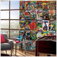 marvel comic book mural