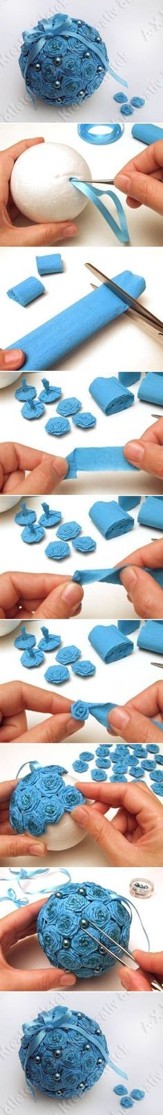 How to make Crepe Paper Flower Ball step by step DIY tutorial instructions / How To Instructions