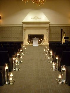 Floating candles in glasses and petals aisle and ceremony decor aisle markers altararch arrangements city indoor ceremony wedding ceremony photos search our wedding photos gallery for the best aisle markers altararch junglespirit Image collections