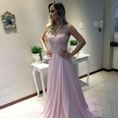 Mermaid Round Neck Open Back Pearl Pink Chiffon Prom Dress with Beading Grad Dresses, Bridesmaid Dresses, Formal Dresses, Wedding Dresses, A Line Prom Dresses, Long Dresses, Party Fashion, Fashion 2018, Fashion Dresses