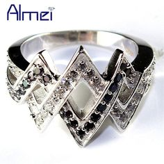 08ee45f0209a6f US $7.05 |Aliexpress.com : Buy Almei Rings For Women With Black Stone  Silver Color Jewelry Wedding Ring Zircon Anillos Mujer 2017 Aneis Bague  Femme Anel ...