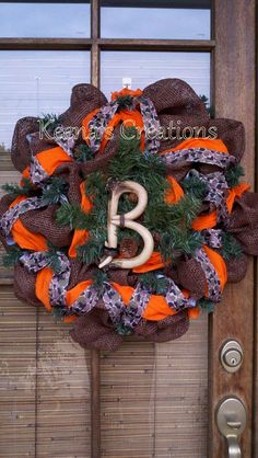 Camo and Orange Deer Horn Initial Deco Mesh by keenascreations, $79.00