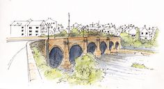 The bridge spanning the River Wharfe in Wetherby, West Yorkshire a Scheduled Ancient Monument ~ sketch ~ John Edwards Watercolor Painting Techniques, Sketch Painting, Watercolor Sketch, Watercolor Landscape, Yorkshire England, West Yorkshire, Art Tutor, Pen And Wash, John Edwards