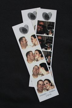 photo booth strips! we used our fingerprints from our invitation!
