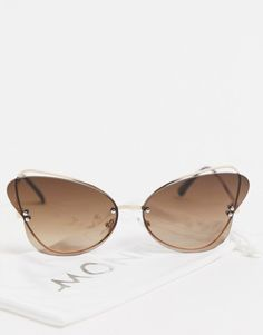 Monki Mariah cat eye sunglasses in brown lens Cat Eye Sunglasses, Mirrored Sunglasses, Monki, Slim Arms, Metal Frames, Lenses, Temple, Asos, Pouch