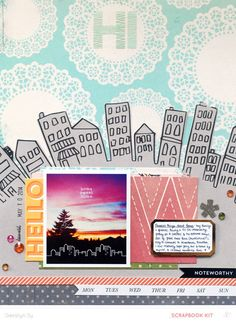 #papercraft #scrapbook #layout.  Home Sweet Home *Main Kit Only* by qingmei at @Studio_Calico