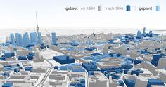 Erkennst Du Berlin noch wieder? Die interaktive 3D-Tour zeigt, wie die Innenstadt seit 1990 gewachsen ist – und wie sie in Zukunft aussehen soll.